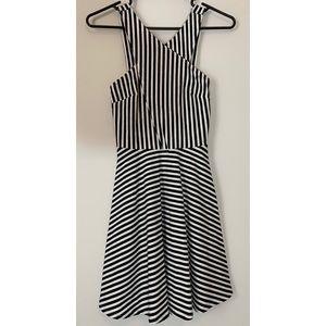 Hollister XS Black & White Striped Skater Dress